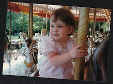 Vintage Photograph Adorable Little Girl Riding Carousel Horse / Pony At Carnival