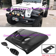 Fit 07-17 Jeep JK Wrangler 10th Anniversary Hard Rock Style Front Rubicon Hood