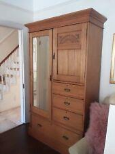 Antique Golden Oak Gentlemen's Compactum Wardrobe from Flashman's of Dover & Co.