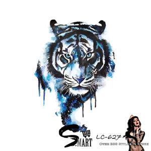 Watercoloured Tiger Head Fierce Back Temporary Tattoo Sticker Blue LC627