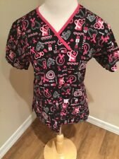 Peaches Women's Breast Cancer Awareness Pink Black Red Scrub Top Size XS
