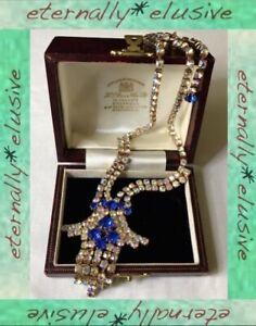 Aurora Borealis AB Sapphire Paste Glass Vintage Sparkling Drop Tassel Jewellery