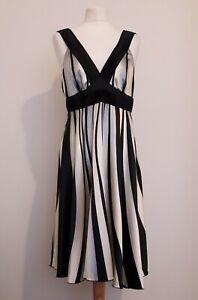 VILA  Carlina Dress Black & Cream Stripe Empire Evening Party Sz XL BNWT