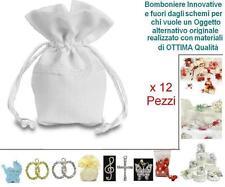 SET N.12 SACCHETTI BOMBONIERA e CONFETTI in COTONE con PIZZO BIANCHI H.12 TF1044