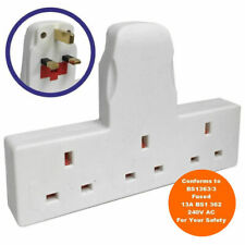 3 Way Electrical Mains Extension UK Plug Adapter Cable 13 Amp 240v Gang Port