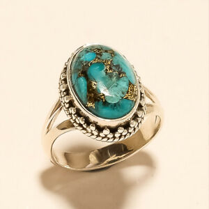 925 Solid Sterling Silver Natural Copper Turquoise Ring Gemstone 6.70Gm m642