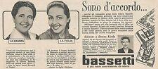W1757 BASSETTI - Anna Riccardi di Napoli - Pubblicità del 1958 - Vintage advert