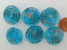 1 perle verre lampwork galet 20x12mm FLEUR Blanc Bleu DIY création bijoux