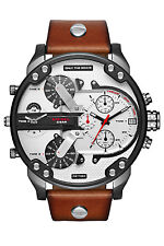 Diesel Original Men's DZ7394 Mr Daddy 2.0 Gunmetal IP Brown Leather Strap Watch