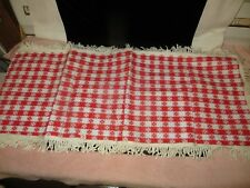 Vintage Red Checked Gingham Vinyl Table Runner with White Fringe - b