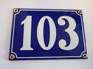 Antique French Blue  Genuine Enamel Porcelain House Door Number Sign / Plate 103