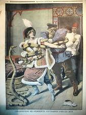 EGYPTE CHARMEUSE DE SERPENTS LA BELLE SIBERIENNE ET LE BOA LE PETIT JOURNAL 1910