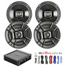 "4X Polk Audio 6.5"" 300W Car/Boat/ATV Speakers, Polk 330W 2-Ch Amp, Wiring Kit"