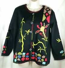MARISOL Woman's Sz L Dressy Jacket/Top Giraffe Embroidered Applique Colorful