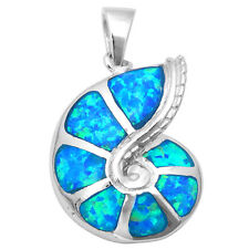 .925 Sterling Silver Pendant Necklace Blue Opal Snail Sea Shell