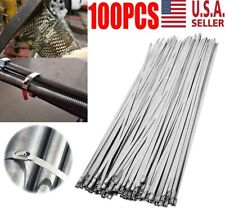 """New listing 100X Stainless Steel 12"""" Exhaust Wrap Coated Metal Locking Cable Zip Ties Us"""