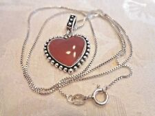 """Vintage Sterling Silver Carnelian Heart Pendant with 18"""" Box Chain"""