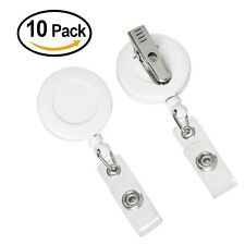 ljdeals Retractable Badge Holders Reel SWIVEL-WHITE Alligator Clip Pack of 10