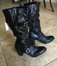 Distressed Motorcycle/Pirate Boots Buckles Strapy Size 8 Black