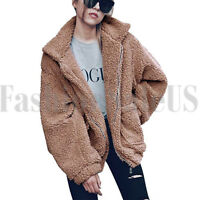 Women's Long Sleeve Lapel Zip Up Faux Shearling Shaggy Oversized Coat Jacket