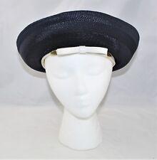 Vintage 60's Blue Polypropylene Straw Rolled Brim Hat White Band Union Label