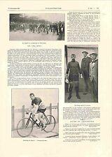 Vélodrome de Vincennes Bol d'Or Vélo Cycliste Cyclisme Cordang GRAVURE 1900