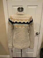 J. Crew Hand Knit Tan Alpaca Fair Isle Sweater, Size Medium