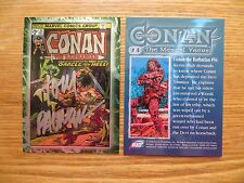 1996 CONAN THE MARVEL YEARS CHROMIUM CARD # 54 SIGNED TOM PALMER, WITH POA