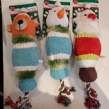 Lot of Three Dukes Holiday Collection Dog Toys (Bear,Snowman,Santa) Rope Toy