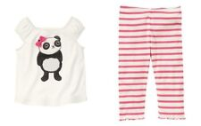 Gymboree Panda Academy Panda Bow Tee & Striped Leggings Size 3T Outfit Set NWT
