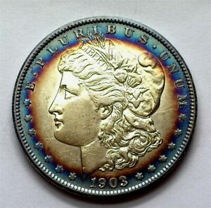 1903-S MORGAN SILVER DOLLAR CHOICE UNCIRCULATED EXQUISITE COLOR! RARE THIS NICE!
