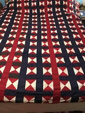 Antique Vintage Red White Blue Handmade Quilt Top