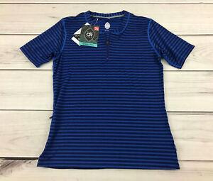 Club Ride Women's Glory RideXDry Pullover SS Shirt Cobalt Stripe Pockets MTB - M