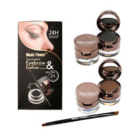 6pcs Eyebrow Powder & Eyeliner-Gel Set wasserdicht mit Pinsel & Spiegel