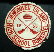 RARE Curling Patch - Vancouver Island High School 1955 Bonspiel Patch