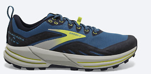 BROOKS CASCADIA 16 MENS TRAIL RUNNING TRAINERS CUSHION MYKCONOS BLUE UK10.5 #S13