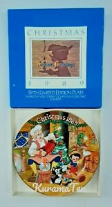 Disney Collector Plate Christmas 1989 Fifth Limited Edition Pinocchio Geppeto