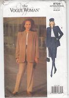 Vogue Jacket Skirt Pants Loose Fit Very Easy 8729 Sewing Pattern Sz 20-24 Uncut