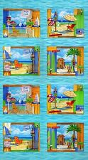 OCEAN VIEW FABRIC PANEL Moda Blocks Panel - Get ready for a fun day in the Sun !
