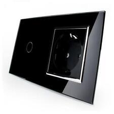 Kombination Design Glas Touch 1-fach Lichtschalter und 1-fach Steckdose schwarz