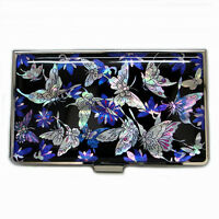 MOP Blue Butterfly Design Business Credit Name ID Card Holder Case Purse Wallet
