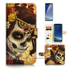 ( For Samsung S8 ) Wallet Case Cover P21398 Sugar Skull