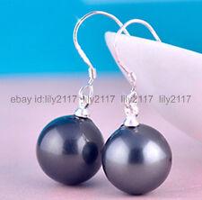 10MM Black south sea shell pearl Silver Dangle earrings