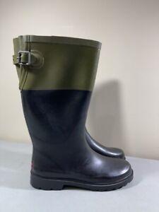 CHOOKA WOMEN'S BLACK & GREEN PULL ON MID CALF RAIN BOOTS SIZE 9
