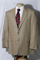 Hickey Freeman Men's Silk Wool Windowpane Sport Coat Jacket Blazer Size 42R