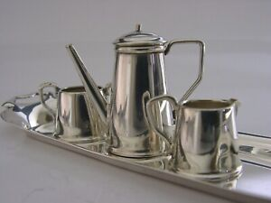 ENGLISH SOLID STERLING SILVER MINIATURE COFFEE POT SET 1974 DOLLS HOUSE TOY