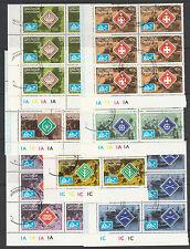 Grenada Grenadines 3243 - 1975 SCOUT JAMBOREE  set of 7 in PLATE BLOCKS of 6 cto