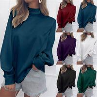 Women High Neck Puff Sleeve Pullover Blouse Shirt Chiffon Long Sleeve Loose Tops