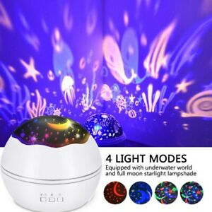 LED Light Projector Star Moon Sky Rotating Lamp Baby Kids Seep Night Lamp Gift