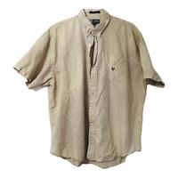 Chaps Ralph Lauren Mens XXL Tan Short Sleeve Button Down Casual Dress Shirt